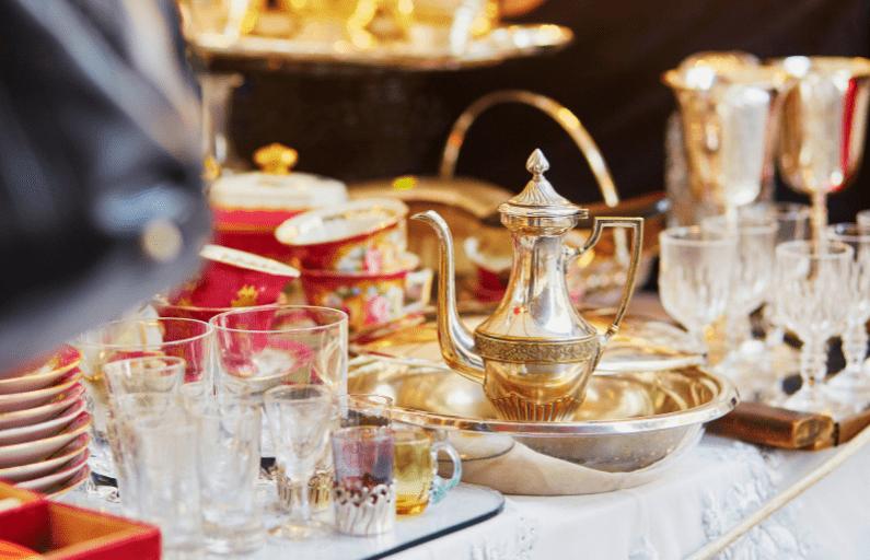 flea market silver tea pot