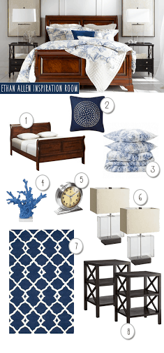 Are you a fan of Copycat Decorating? We put together an Ethan Allen Inspired Bedroom in navy and white to get the look for less.