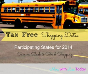 tax free shopping dates 2014