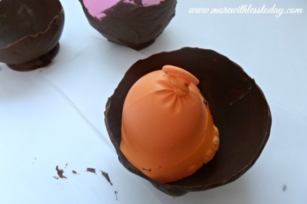 pop and remove the balloon when making Edible Chocolate Dessert Bowls