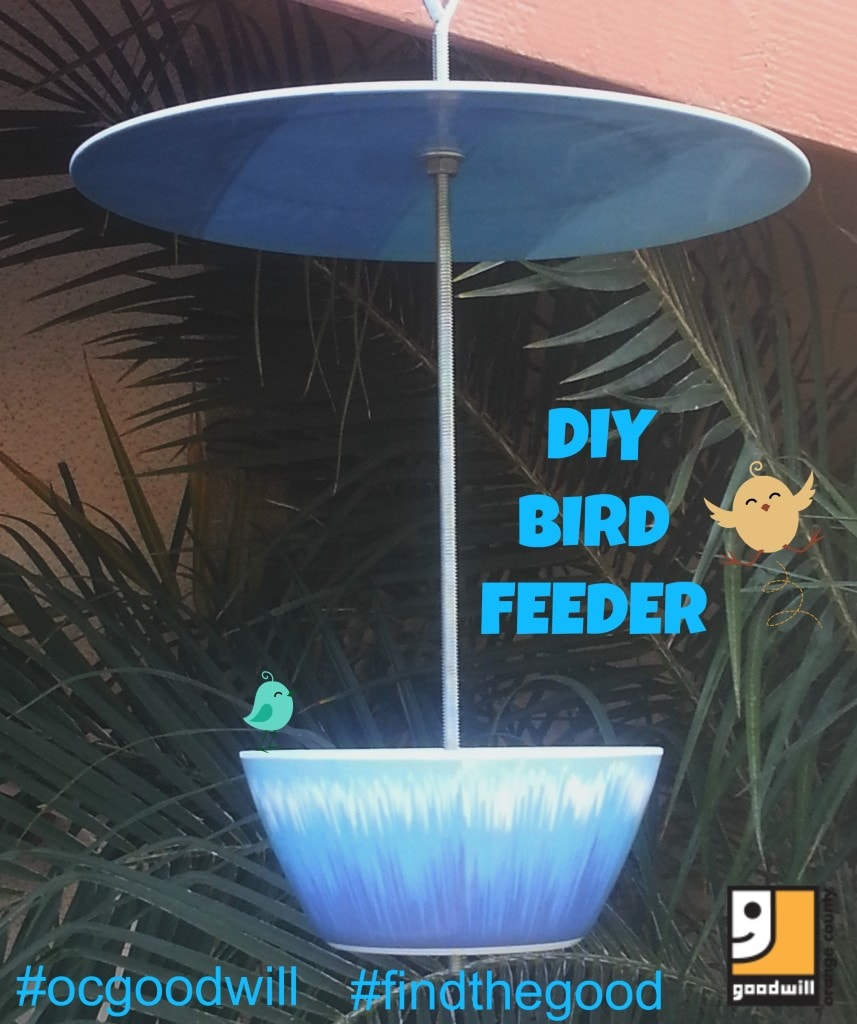 Easy DIY bird feeder, make a bird feeder from thrift store items, use melamine plates to make a hanging bird feeder, Goodwill finds repurposed, thrift decor