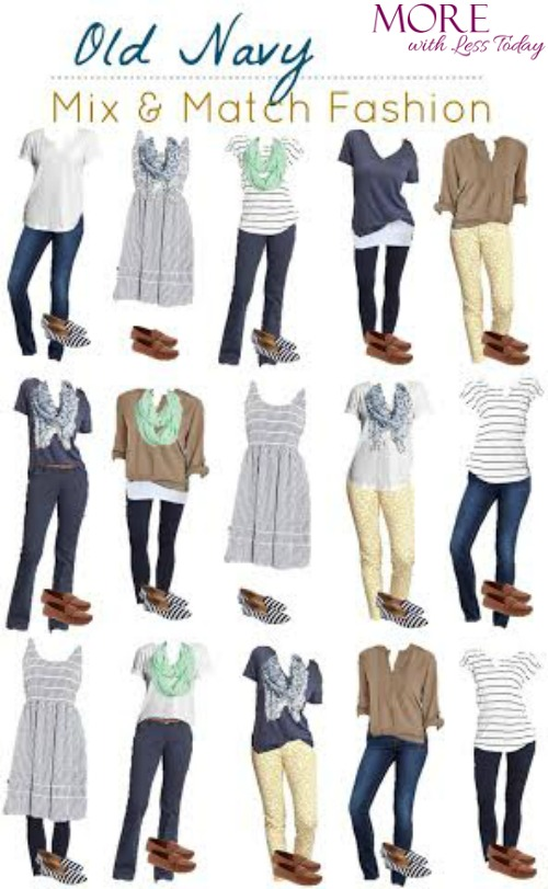 Old Navy mix and match fashion More With Less Today, fashion boards Old Navy, style Old Navy, promo codes Old Navy fashion, put together several outfits