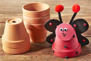 Michaels kids club lady bug clay pot