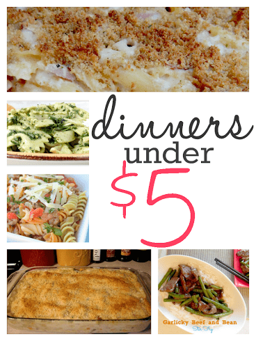 Make these dinners for under $5 and feed your family for less. You can lower your food bill when you serve inexpensive recipes that taste great!