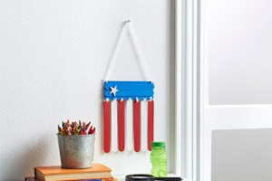 red white & blue craft stick