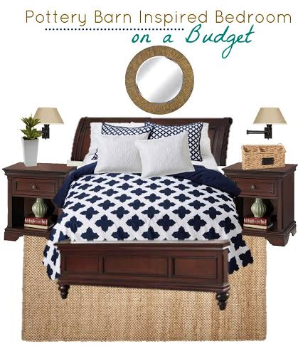 Are you a fan of Pottery Barn decor? See Our inspired bedroom decorated on a budget in navy and white with items from discount stores.