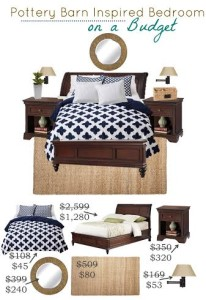 Thumbnail image for Pottery Barn Inspired Bedroom on a Budget Using Navy Blue and White