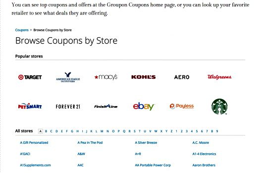 use Groupon coupons to save at department stores, save money retail shopping with Groupon coupons