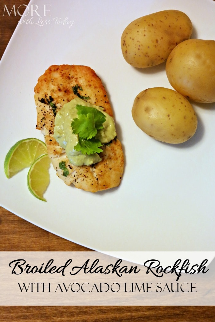 Broiled Alaska Rockfish with Avocado Lime Sauce is a delicious and easy meal that cooks from frozen in less than 15 minutes.