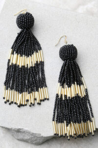 black and white tassel statement earrings