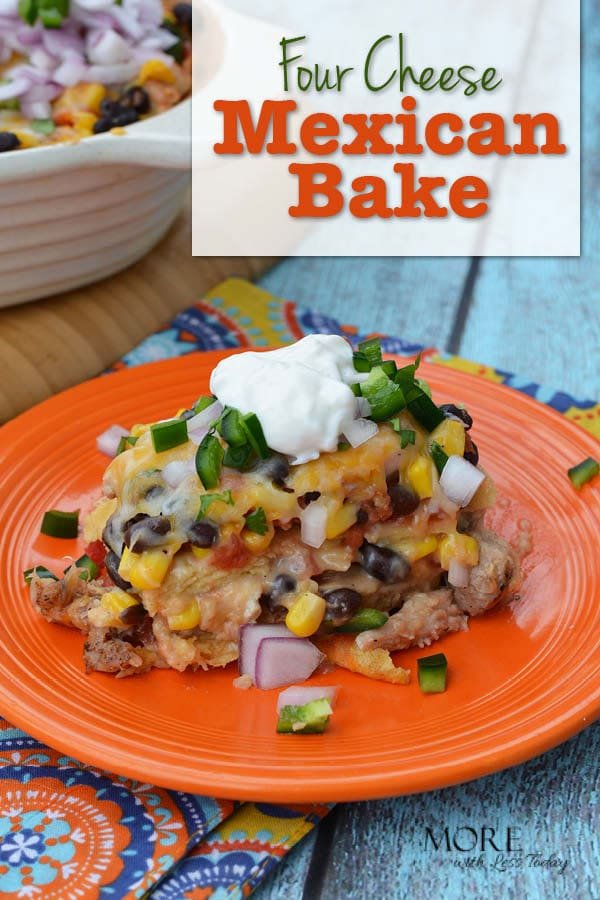 Are you looking for an easy dinner dish? Try our Four Cheese Mexican Bake. You can add this to your dinner rotation and get good food on the table fast.