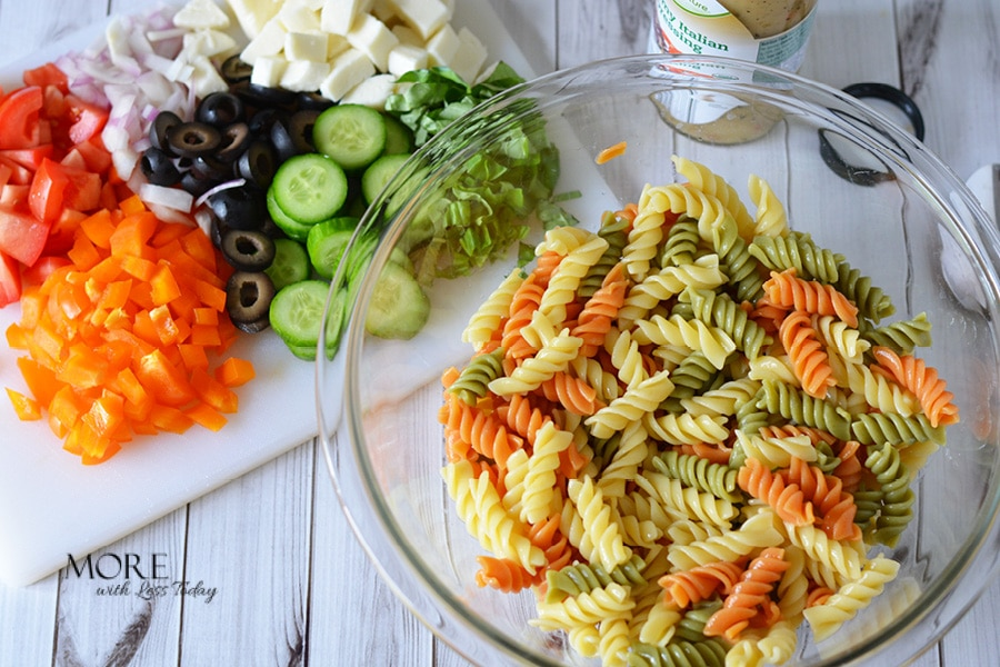 creamy Italian Pasta Salad ingredients