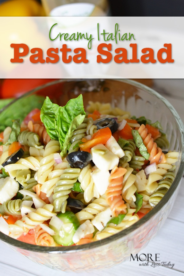 This Creamy Italian Pasta Salad comes together in just a few minutes and leftovers make a delicious lunch.