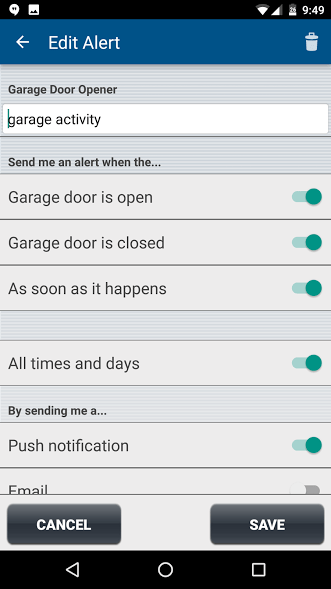 notification by phone when garage door is open