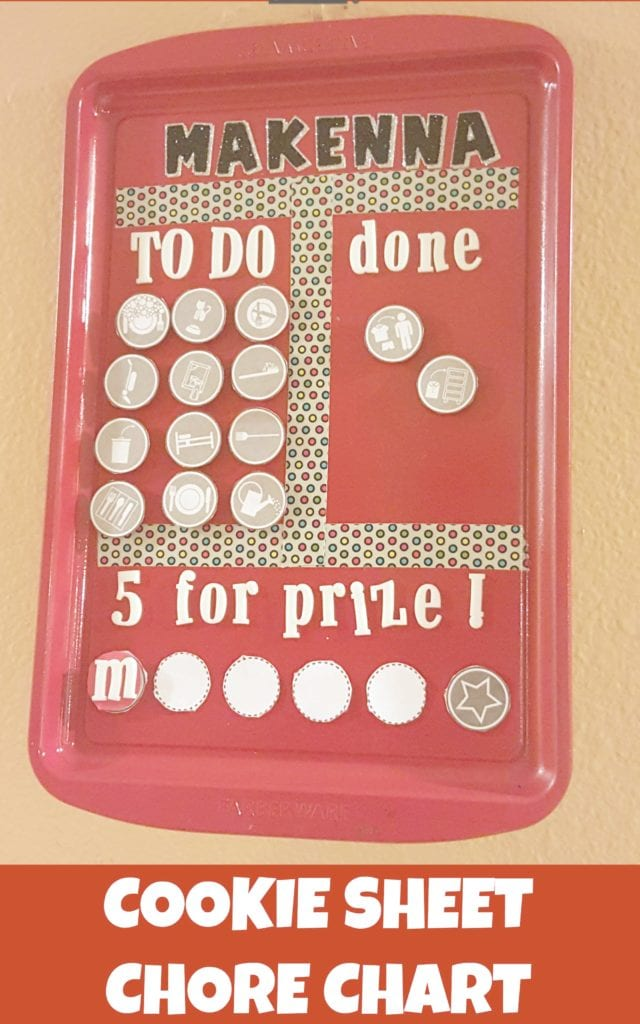 Make a kids chore chart from an old cookie sheet. If you have young kids and old cookie sheets, this DIY craft is for you.
