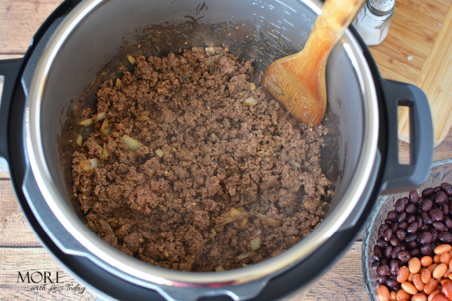 browning the chili meat in the instant pot Instant Pot Chili recipe