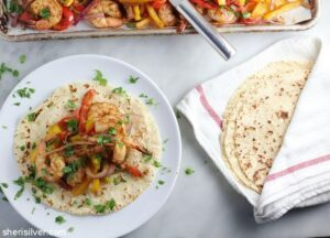 Dinner IRL: Sheet Pan Shrimp Fajitas from Donuts, Dresses, and Dirt