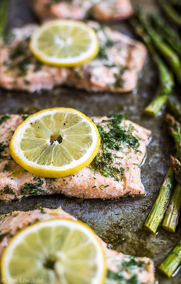 20 Minute Sheet Pan Lemon Dill Salmon and Asparagus from The Life of Jolie