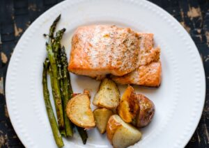Honey Glazed Roasted Salmon and Vegetables from An Alli Event