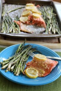 One Pan Lemon Garlic Salmon & Parmesan Asparagus from Saving You Dinero