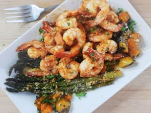 One Pan Sriracha Honey Shrimp & Asparagus | 20 Minute Meals from The Starving Chef