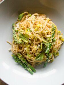 Asparagus Spears, Mint and Lemon Leek Cream Spaghettini by Bacon is Magic