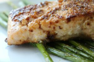 Salmon with Mustard and Brown Sugar Glaze from Having Fun Saving & Cooking