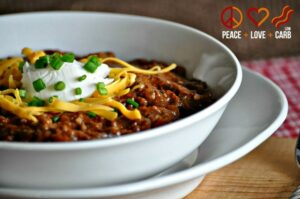 Slow Cooker Kickin'Chili: Low Carb, Gluten-free from Peace, Love and Low Carb