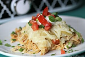 Crockpot Chicken Enchilada Casserole from Eating on a Dime