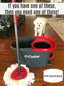O-Cedar EasyWring Spin Mop and Bucket System and my dog Buddy