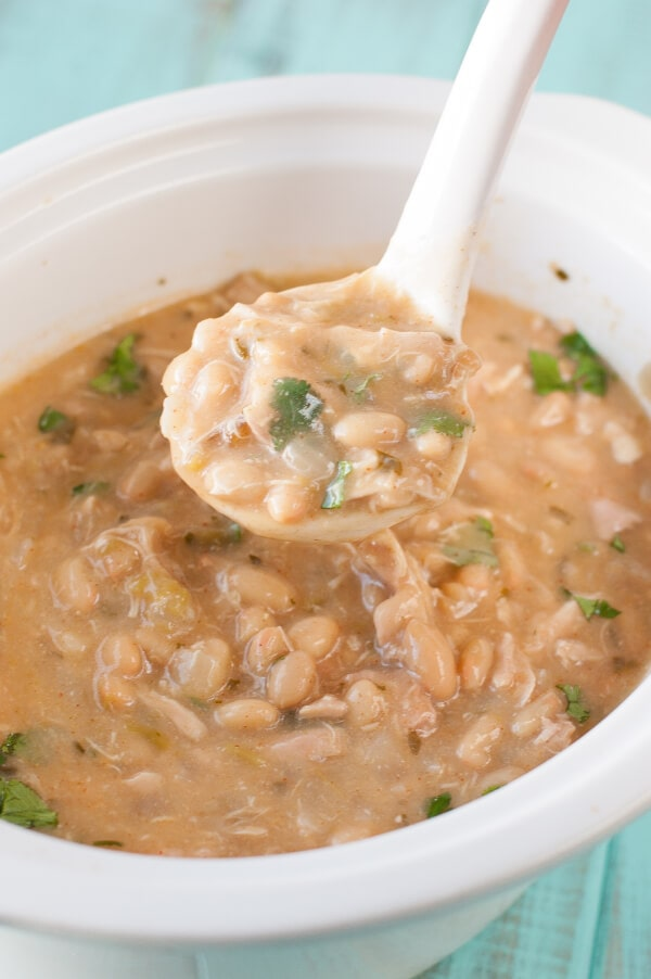 Slow Cooker Clean Eating Creamy White Chicken Chili Recipe from Clean Eating Recipes