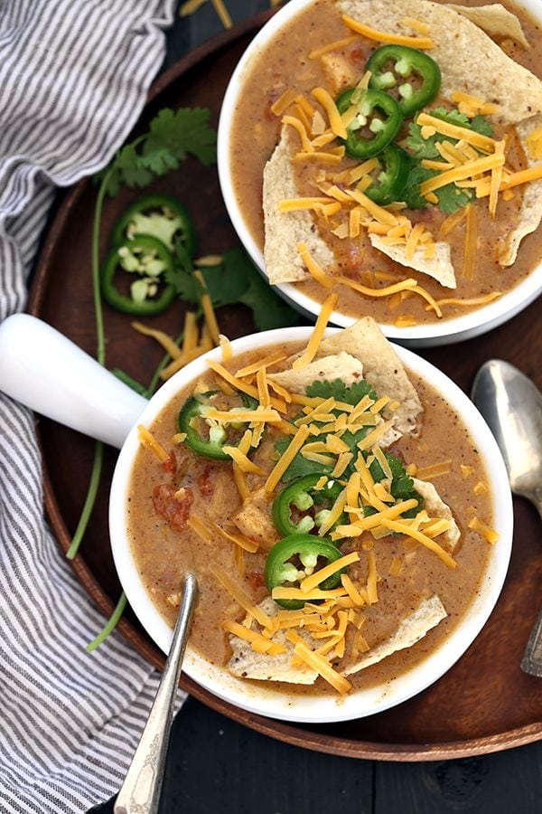 Slow Cooker King Ranch Chicken Soup by Melanie Makes