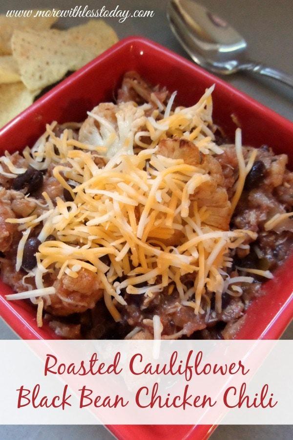 Roasted Cauliflower Black Bean Chicken Chili