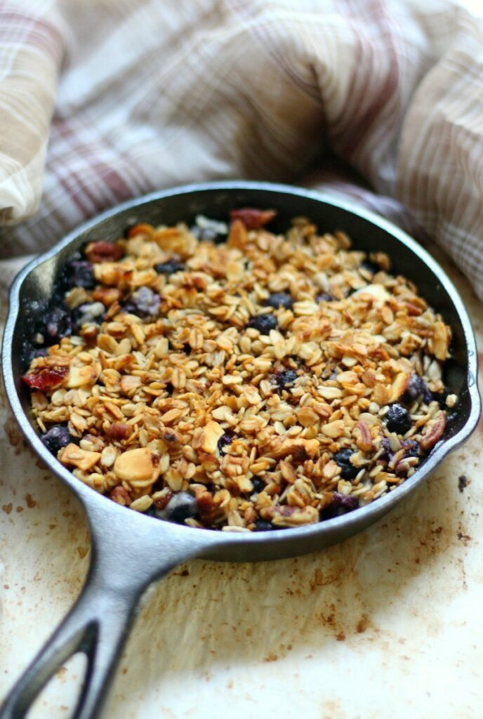 Skillet Blueberry Crisp For Two