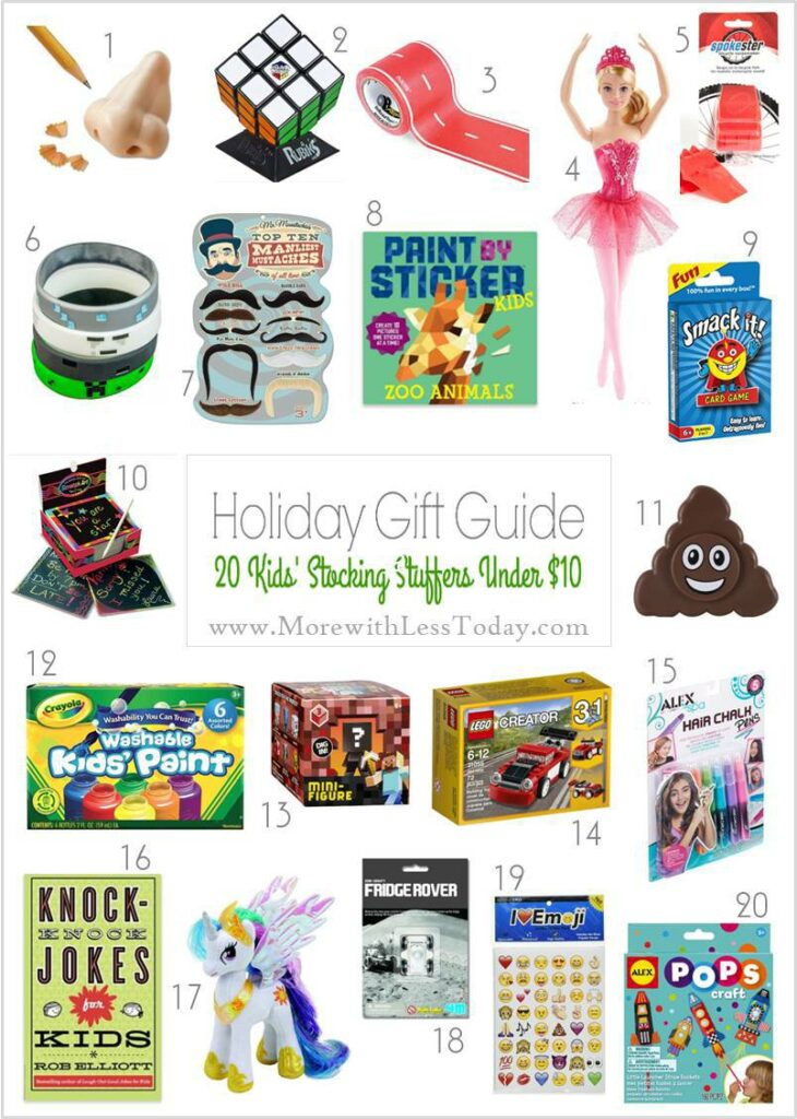 collage featuring Stocking Stuffer Gifts Under $10 - Inexpensive Gift Ideas for Kids.
