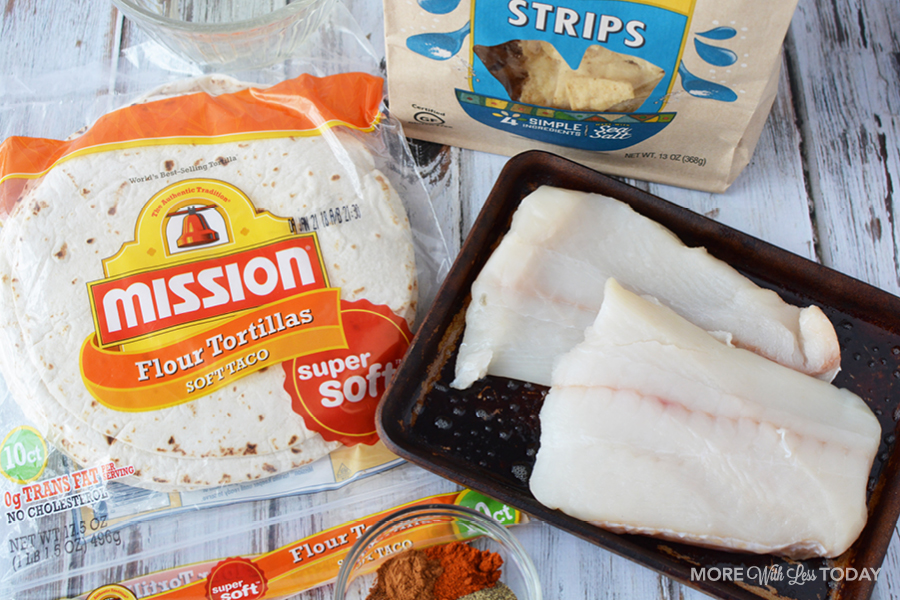 cod fillets and tortillas for fish taco recipe