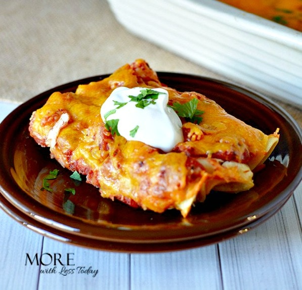 """Easy Chicken Enchiladas You Can Make Ahead - Step by Step Directions will make this a """"can't miss recipe"""" everyone will love."""