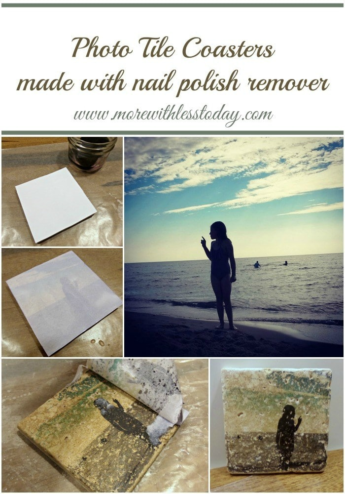 collage of steps to make photo tile coasters with nail polish remover