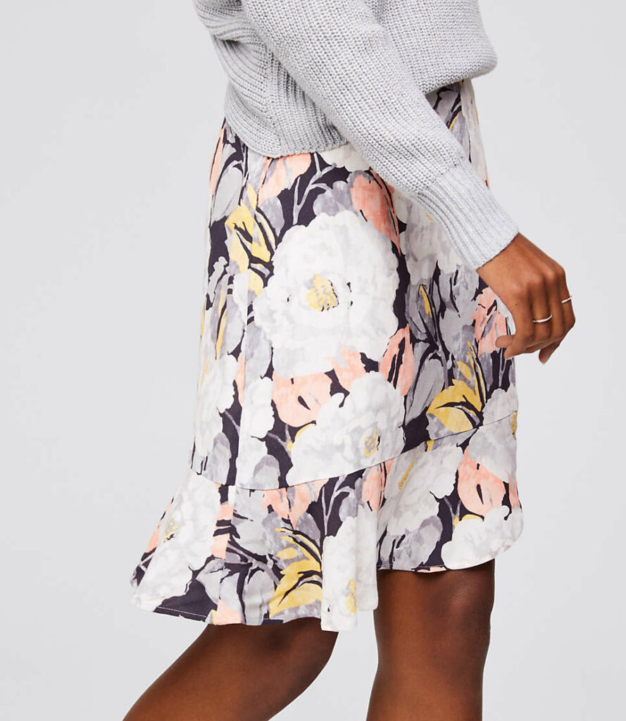 Floral Flounce Skirt from The LOFT