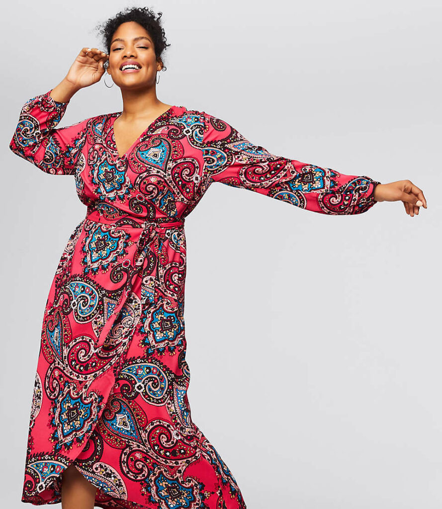 Loft Plus Paisley Wrap Midi Dress from the LOFT
