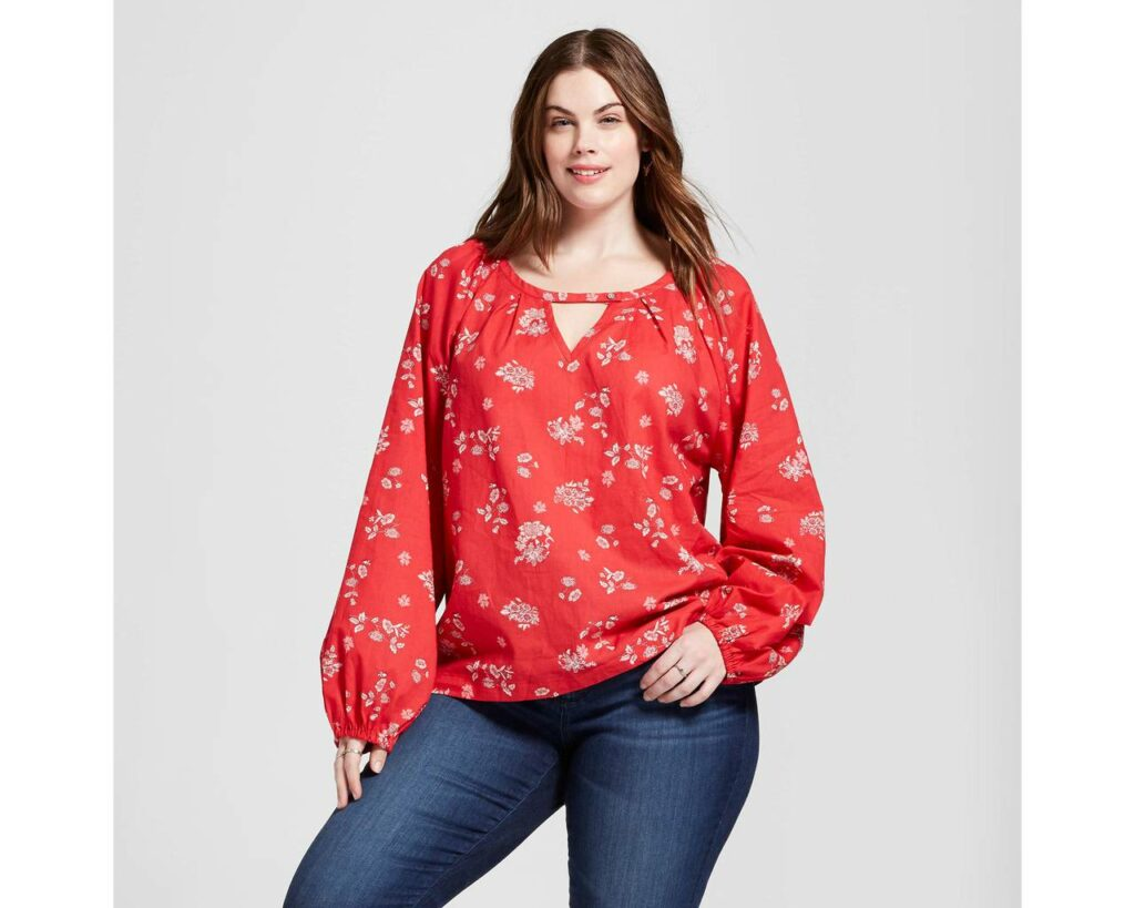 Target plus size red floral blouse
