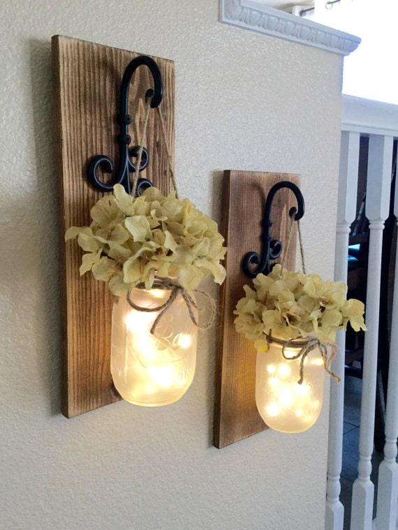 mason jar sconces with lights