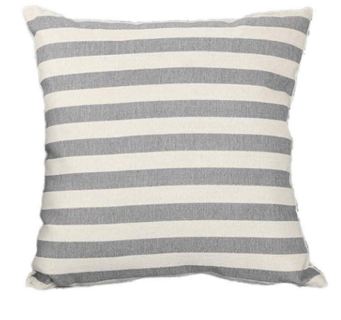 gray and white striped pillow covers ticking pattern