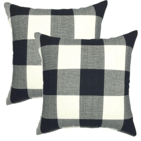 black and white checked pillows Buffalo check pillows