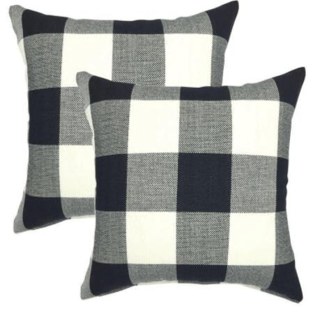 black and white checked pillows Buffalo check pillows
