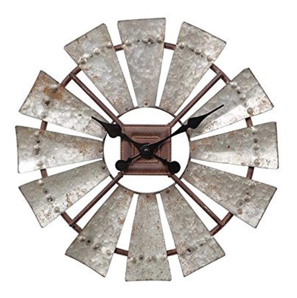 windmill metal clock farmhouse