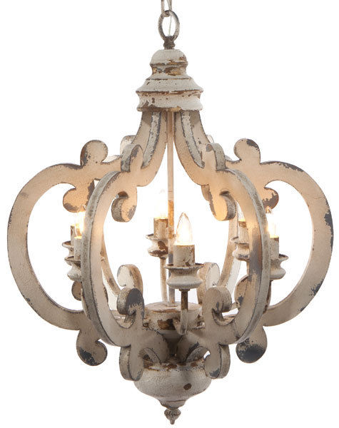distressed wooden chandelier