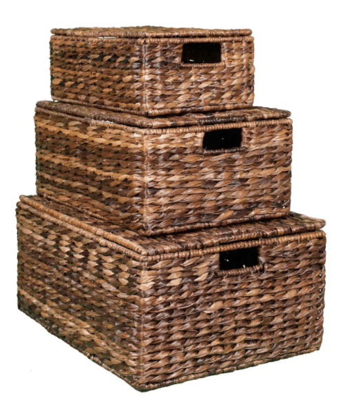 stacking woven wicker boxes storage