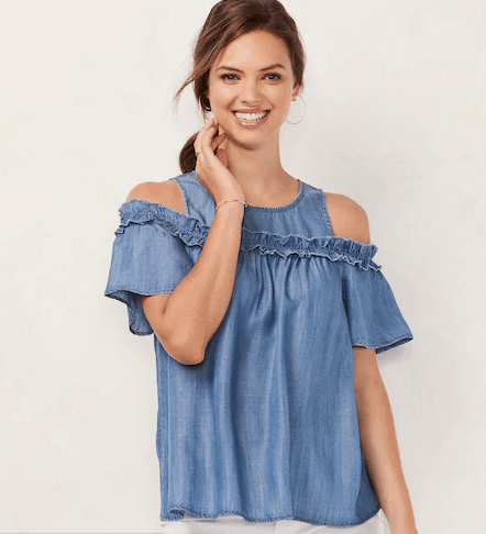 Women's LC Lauren Conrad Ruffle Cold-Shoulder Top Kohl's