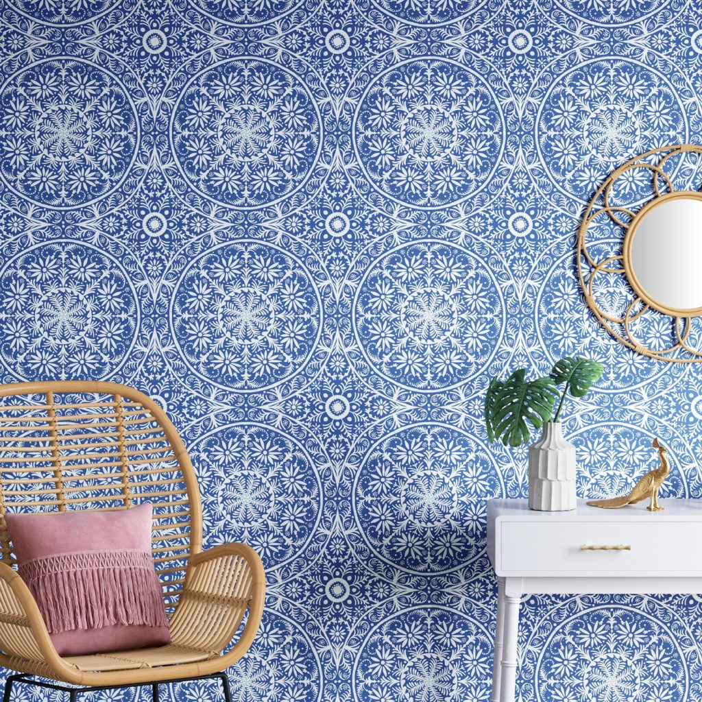 Cadiz Medallion Peel & Stick Removable Wallpaper Capri Blue - Opalhouse™ at Target